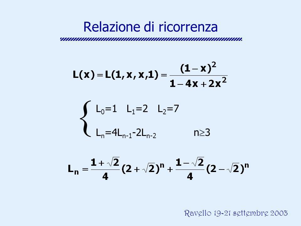 Ravello 19-21 settembre 2003 Relazione di ricorrenza L 0 =1 L 1 =2 L 2 =7 L n =4L n-1 -2L n-2 n 3