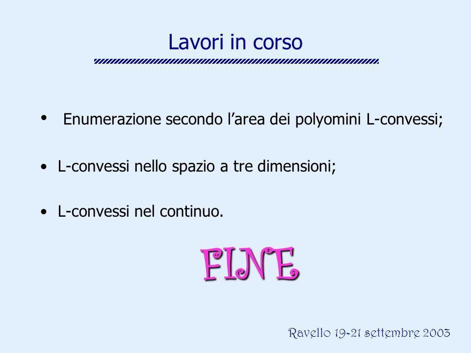 Ravello 19-21 settembre 2003 Lavori in corso Enumerazione secondo larea dei polyomini L-convessi; L-convessi nello spazio a tre dimensioni; L-convessi