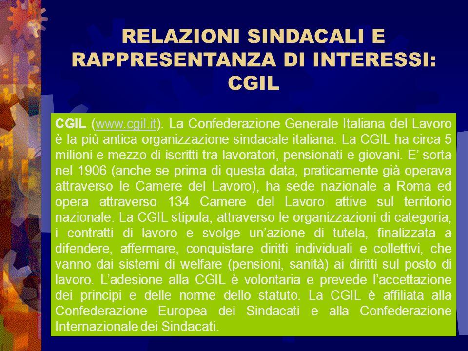 RELAZIONI SINDACALI E RAPPRESENTANZA DI INTERESSI: CGIL CGIL (www.cgil.it). La Confederazione Generale Italiana del Lavoro è la più antica organizzazi