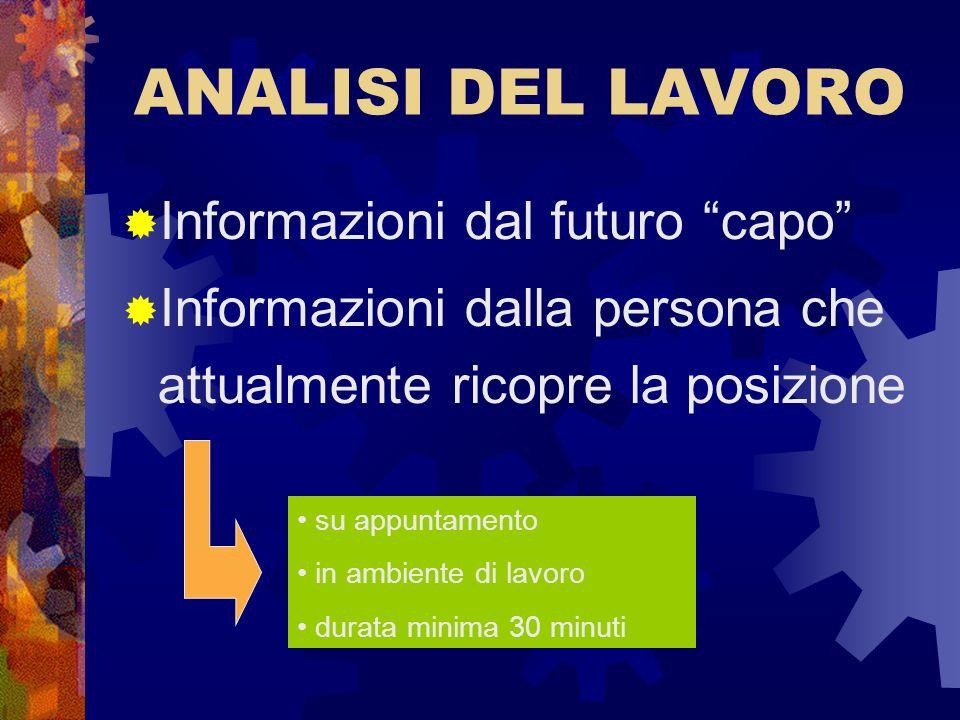 ANALISI DEL LAVORO Informazioni dal futuro capo Informazioni dalla persona che attualmente ricopre la posizione su appuntamento in ambiente di lavoro