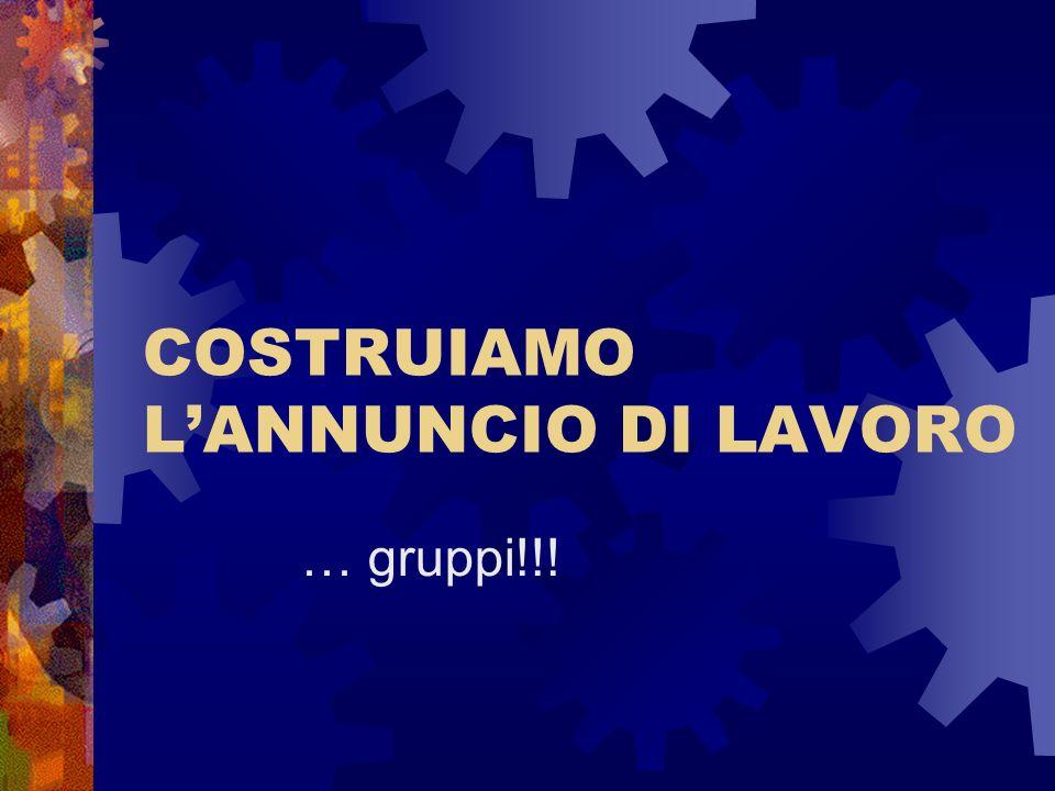 COSTRUIAMO LANNUNCIO DI LAVORO … gruppi!!!