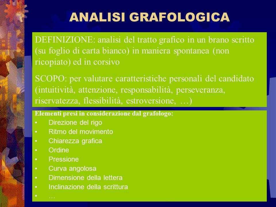 ANALISI GRAFOLOGICA DEFINIZIONE: analisi del tratto grafico in un brano scritto (su foglio di carta bianco) in maniera spontanea (non ricopiato) ed in