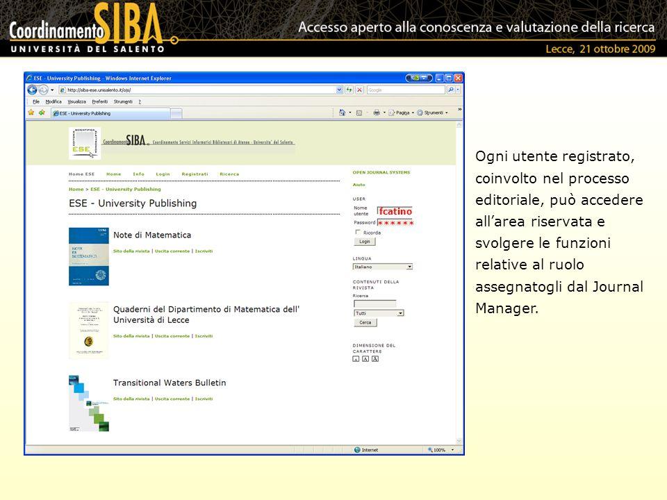 Ogni utente registrato, coinvolto nel processo editoriale, può accedere allarea riservata e svolgere le funzioni relative al ruolo assegnatogli dal Jo