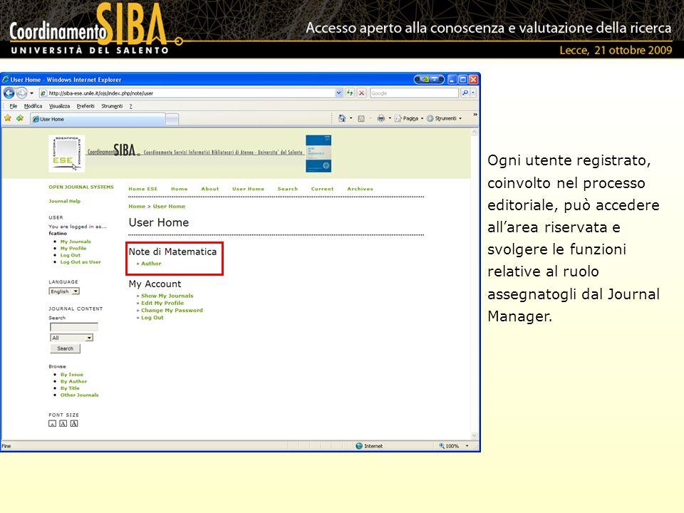Ogni utente registrato, coinvolto nel processo editoriale, può accedere allarea riservata e svolgere le funzioni relative al ruolo assegnatogli dal Journal Manager.