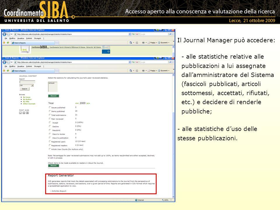 Il Journal Manager può accedere: - alle statistiche duso delle stesse pubblicazioni. - alle statistiche relative alle pubblicazioni a lui assegnate da