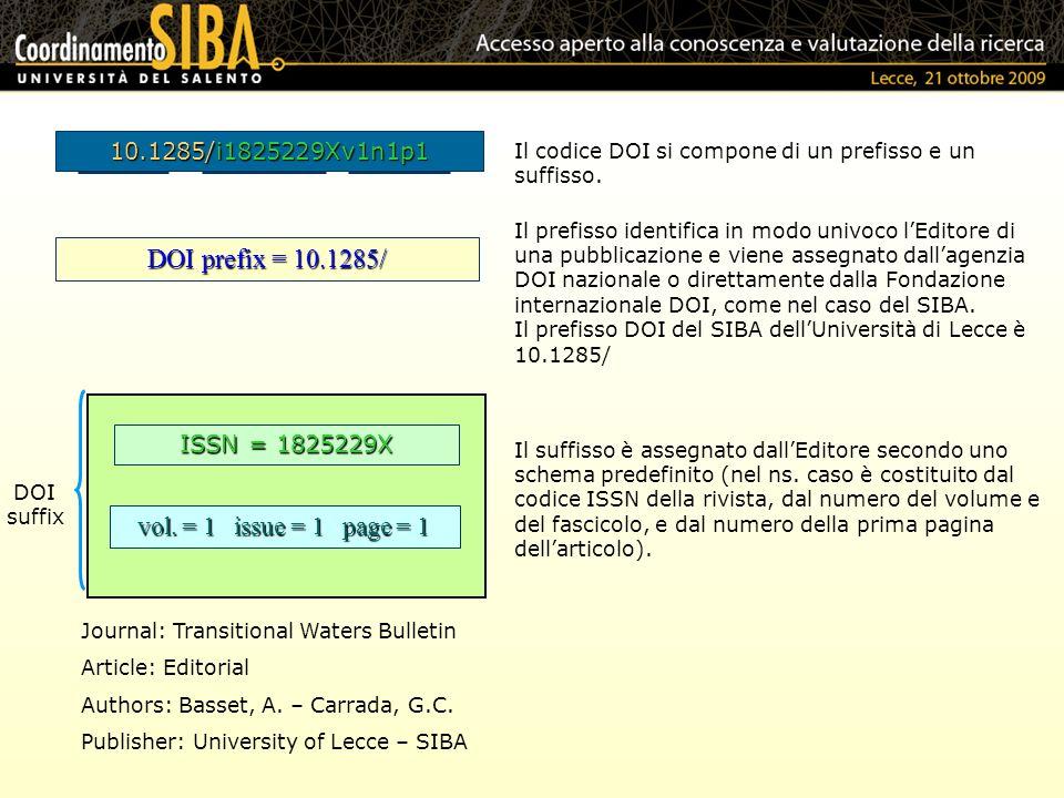 Il suffisso è assegnato dallEditore secondo uno schema predefinito (nel ns. caso è costituito dal codice ISSN della rivista, dal numero del volume e d