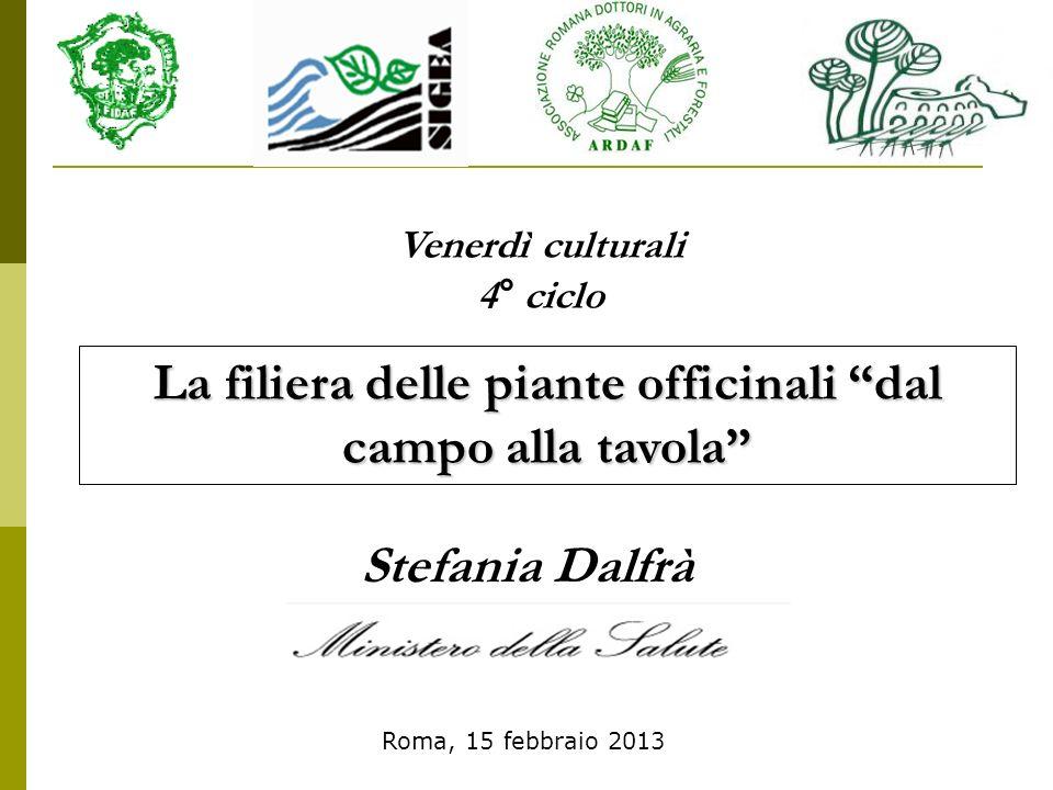 il Ministero della salute ha fatto un inventario delle piante già in uso in Italia nel settore alimentare - erboristico INTEGRATORI ALIMENTARI Direttiva 2002/46/CE Circa 78.000 prodotti erano venduti come preparati erboristici