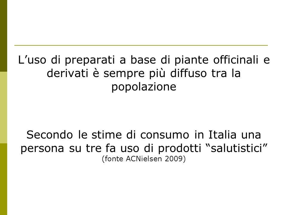 La situazione italiana In italia ci sono circa 5.000 erboristerie: nelle quali sono vendute erbe e spezie, sfuse e/o confezionate, e miscelate al momento secondo le esigenze dei consumatori.