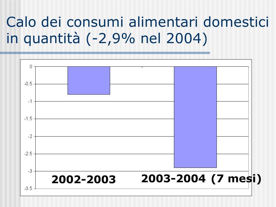 Calo dei consumi alimentari domestici in quantità (-2,9% nel 2004) 2002-2003 2003-2004 (7 mesi)