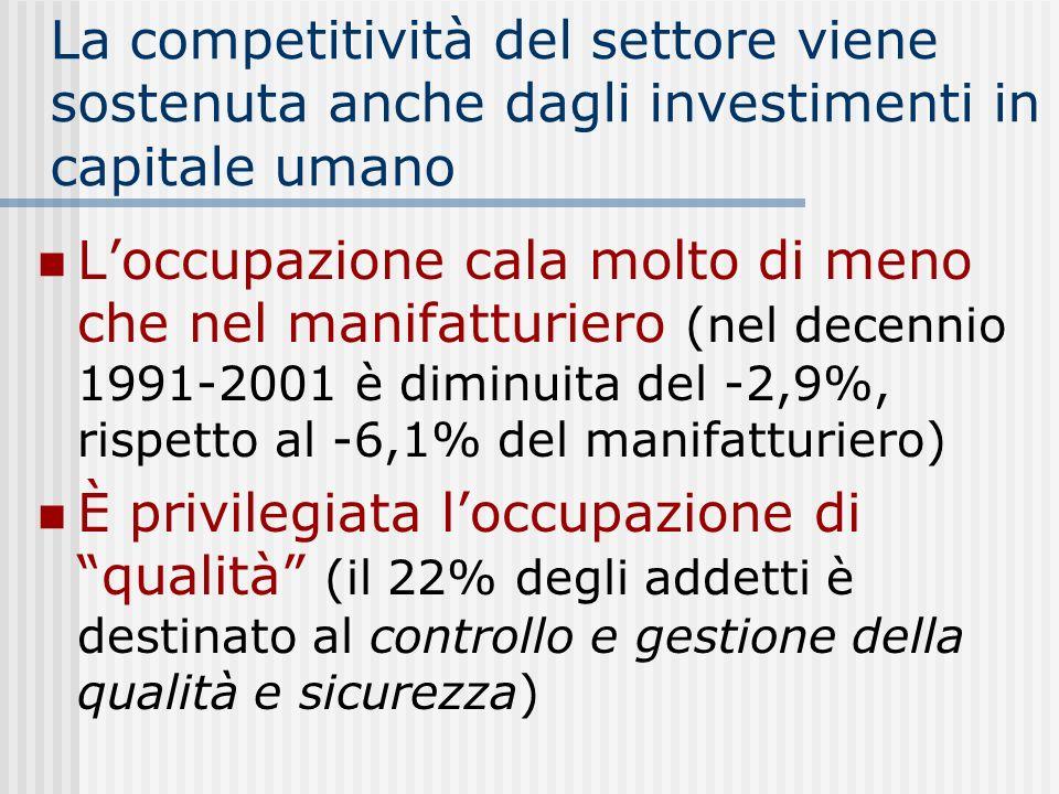 La competitività del settore viene sostenuta anche dagli investimenti in capitale umano Loccupazione cala molto di meno che nel manifatturiero (nel decennio 1991-2001 è diminuita del -2,9%, rispetto al -6,1% del manifatturiero) È privilegiata loccupazione di qualità (il 22% degli addetti è destinato al controllo e gestione della qualità e sicurezza)
