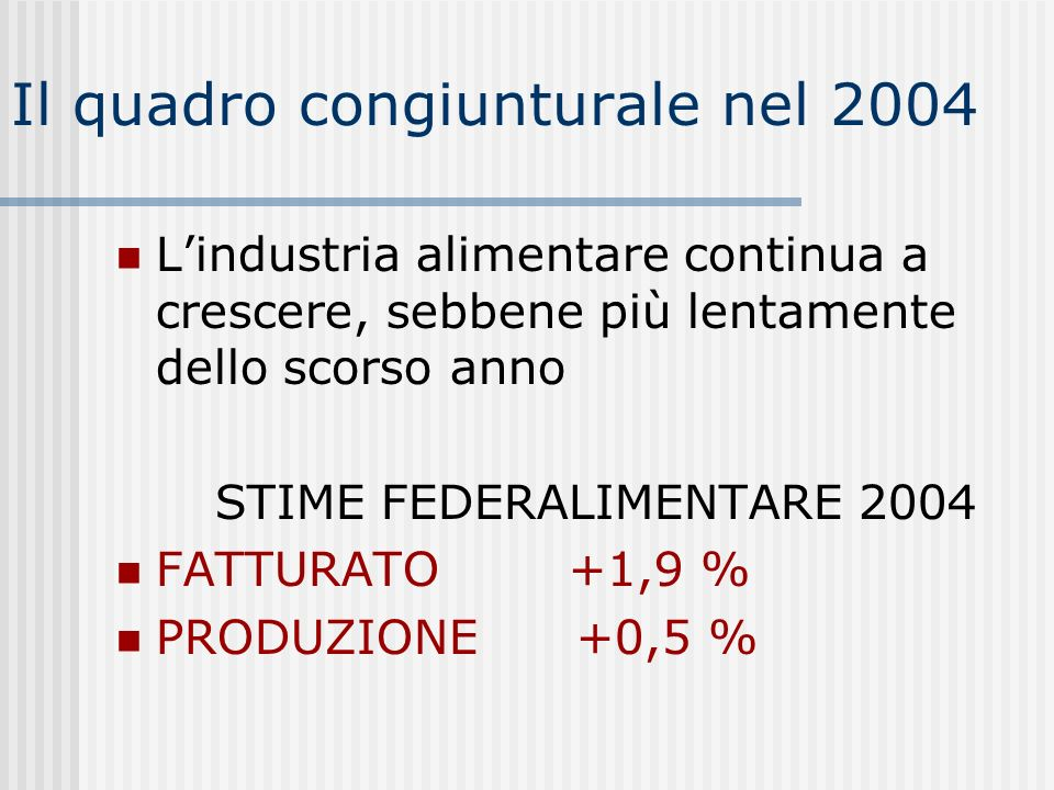 Il quadro congiunturale nel 2004 Lindustria alimentare continua a crescere, sebbene più lentamente dello scorso anno STIME FEDERALIMENTARE 2004 FATTURATO +1,9 % PRODUZIONE +0,5 %
