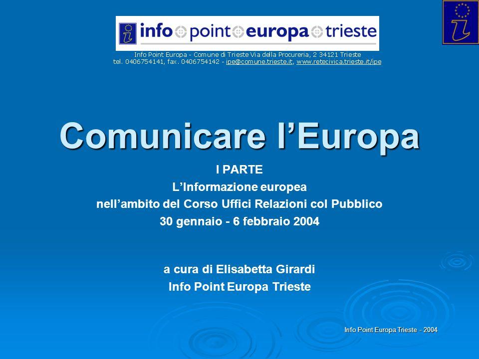Info Point Europa Trieste - 2004 Comunicare lEuropa I PARTE LInformazione europea nellambito del Corso Uffici Relazioni col Pubblico 30 gennaio - 6 fe