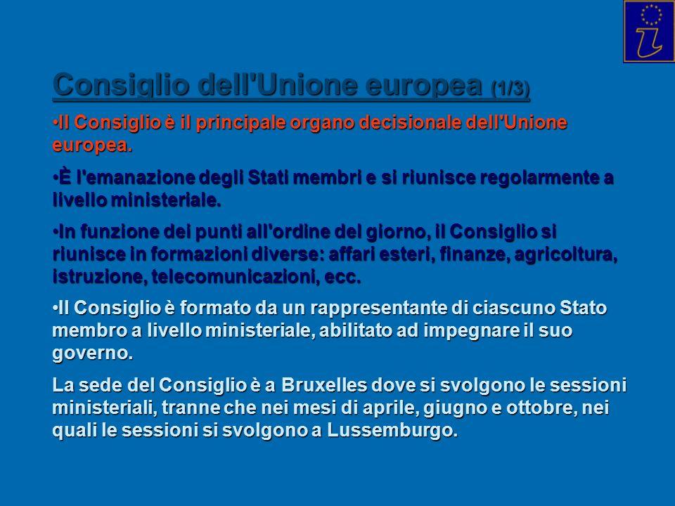 Consiglio dell'Unione europea (1/3) Il Consiglio è il principale organo decisionale dell'Unione europea.Il Consiglio è il principale organo decisional