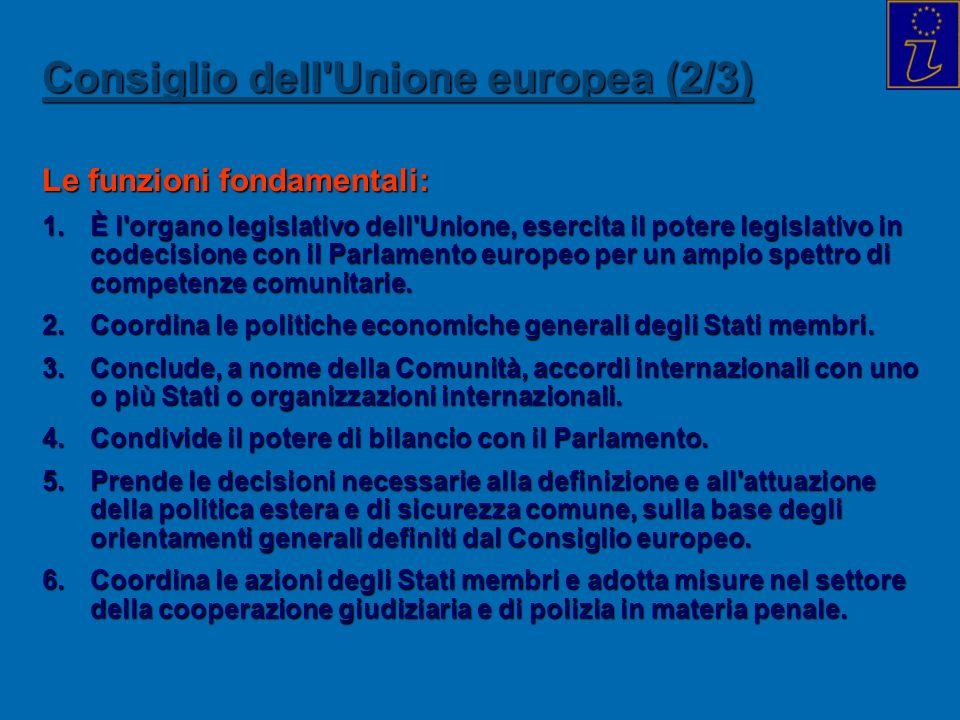 Consiglio dell'Unione europea (2/3) Le funzioni fondamentali: 1.È l'organo legislativo dell'Unione, esercita il potere legislativo in codecisione con