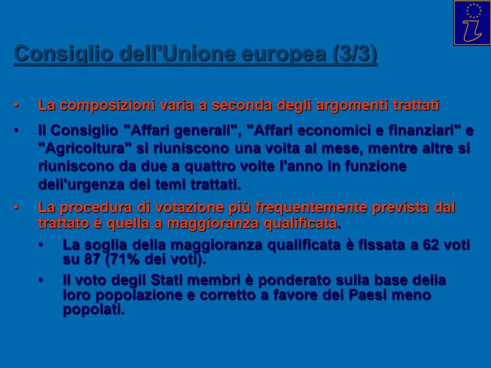 Consiglio dell'Unione europea (3/3) La composizioni varia a seconda degli argomenti trattatiLa composizioni varia a seconda degli argomenti trattati I