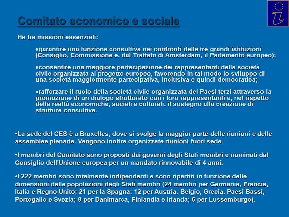 Comitato economico e sociale Ha tre missioni essenziali: garantire una funzione consultiva nei confronti delle tre grandi istituzioni (Consiglio, Comm