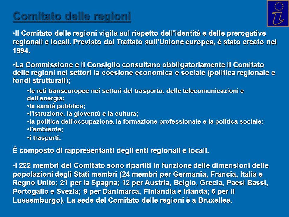 Comitato delle regioni Il Comitato delle regioni vigila sul rispetto dell'identità e delle prerogative regionali e locali. Previsto dal Trattato sull'