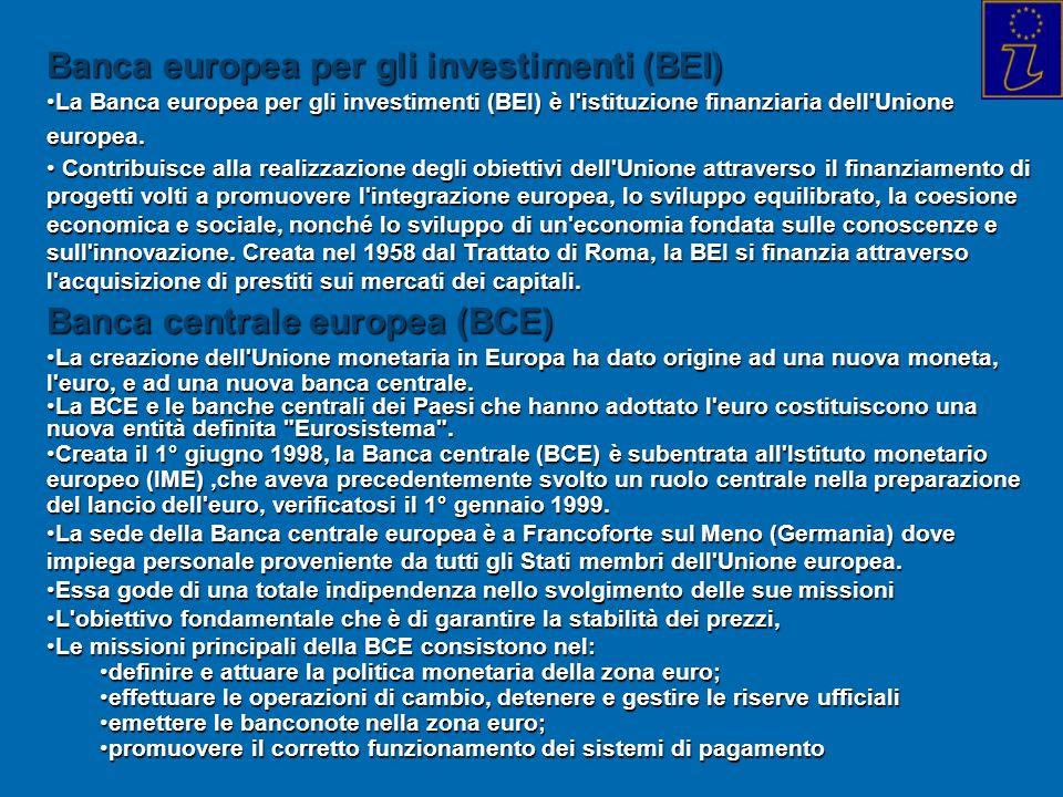 Banca europea per gli investimenti (BEI) La Banca europea per gli investimenti (BEI) è l'istituzione finanziaria dell'Unione europea.La Banca europea