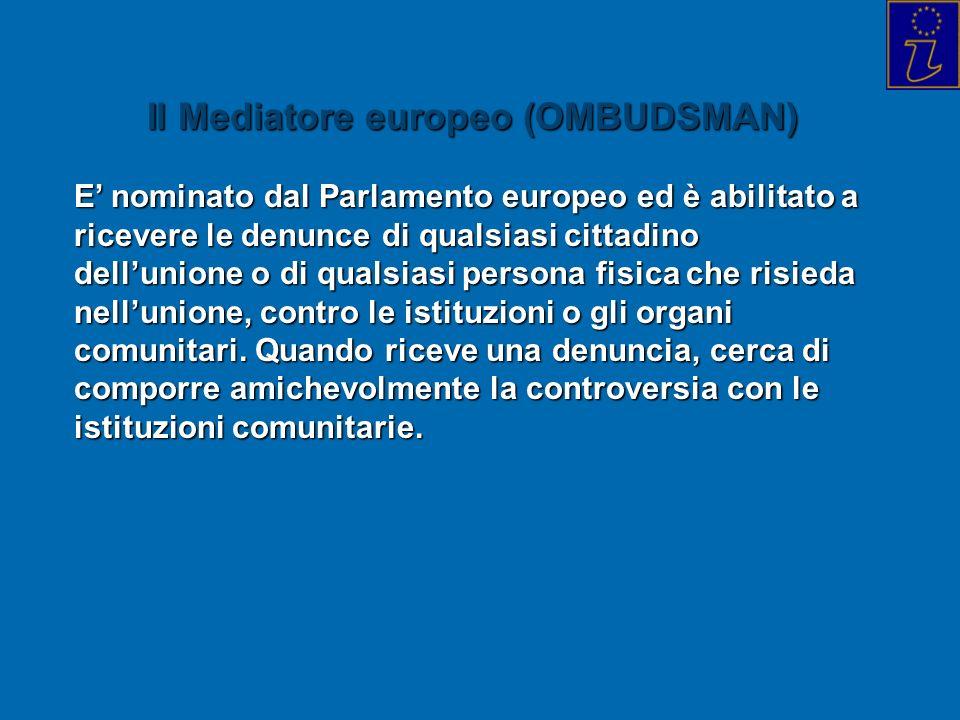 Il Mediatore europeo (OMBUDSMAN) E nominato dal Parlamento europeo ed è abilitato a ricevere le denunce di qualsiasi cittadino dellunione o di qualsia
