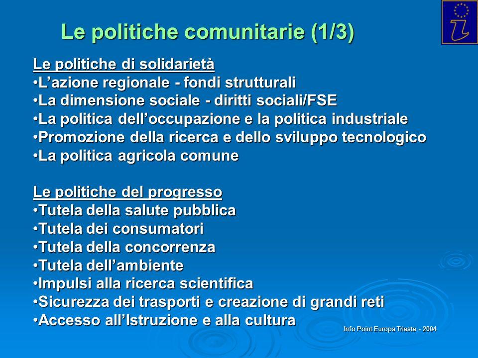 Info Point Europa Trieste - 2004 Le politiche comunitarie (1/3) Le politiche di solidarietà Lazione regionale - fondi strutturaliLazione regionale - f