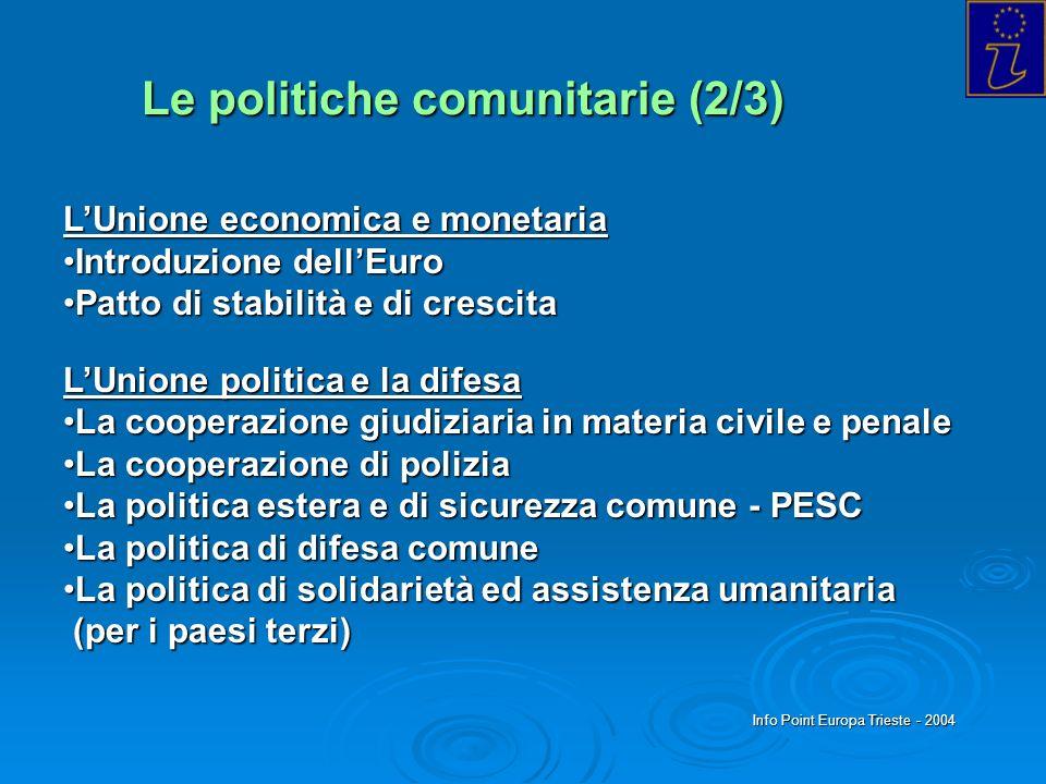 Info Point Europa Trieste - 2004 Le politiche comunitarie (2/3) LUnione economica e monetaria Introduzione dellEuroIntroduzione dellEuro Patto di stab