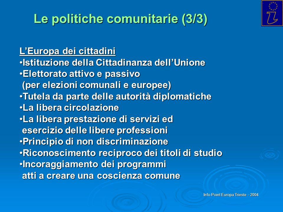 Info Point Europa Trieste - 2004 Le politiche comunitarie (3/3) LEuropa dei cittadini Istituzione della Cittadinanza dellUnioneIstituzione della Citta