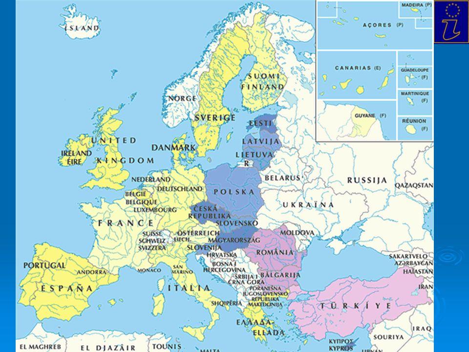 Le tappe fondamentali dellUnione Europea 1951 Nasce lEuropa: la Ceca (Trattato di Parigi) 1957 La Comunità Economica Europea (Trattato di Roma) + EURATOM 1950 Altiero Spinelli e Jean Monnet scrivono per Robert Schuman il piano che il 9 maggio verra reso pubblico sullidea di: il piano che il 9 maggio verra reso pubblico sullidea di: Progetto federalista (rapporto di complementarietà tra i poteri)Progetto federalista (rapporto di complementarietà tra i poteri) Progetto funzionalista (delega graduale di parti di sovranità)Progetto funzionalista (delega graduale di parti di sovranità) Da realizzare per il momento ad un settore limitato: CARBONE E ACCIAO 6 gli STATI FONDATORI