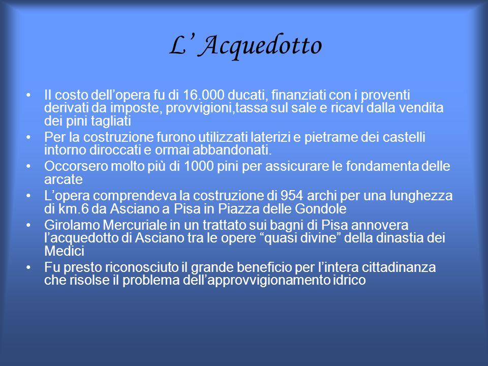 L Acquedotto Il costo dellopera fu di 16.000 ducati, finanziati con i proventi derivati da imposte, provvigioni,tassa sul sale e ricavi dalla vendita