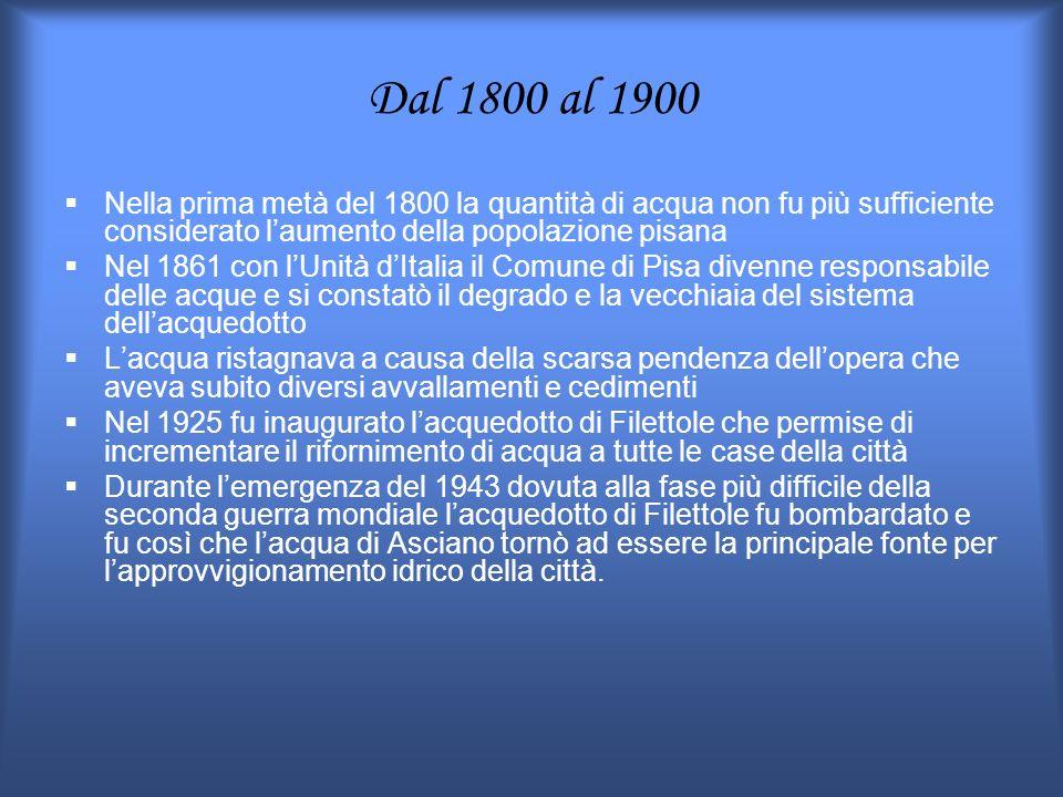 Dal 1800 al 1900 Nella prima metà del 1800 la quantità di acqua non fu più sufficiente considerato laumento della popolazione pisana Nel 1861 con lUni