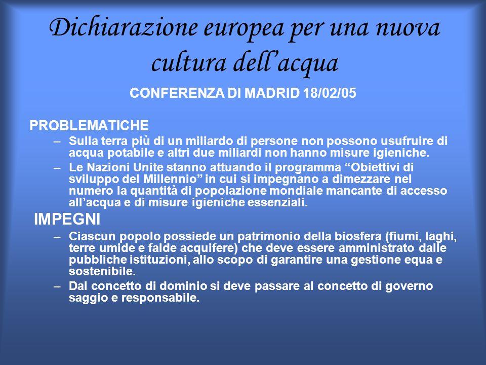 Dichiarazione europea per una nuova cultura dellacqua CONFERENZA DI MADRID 18/02/05 PROBLEMATICHE –Sulla terra più di un miliardo di persone non posso