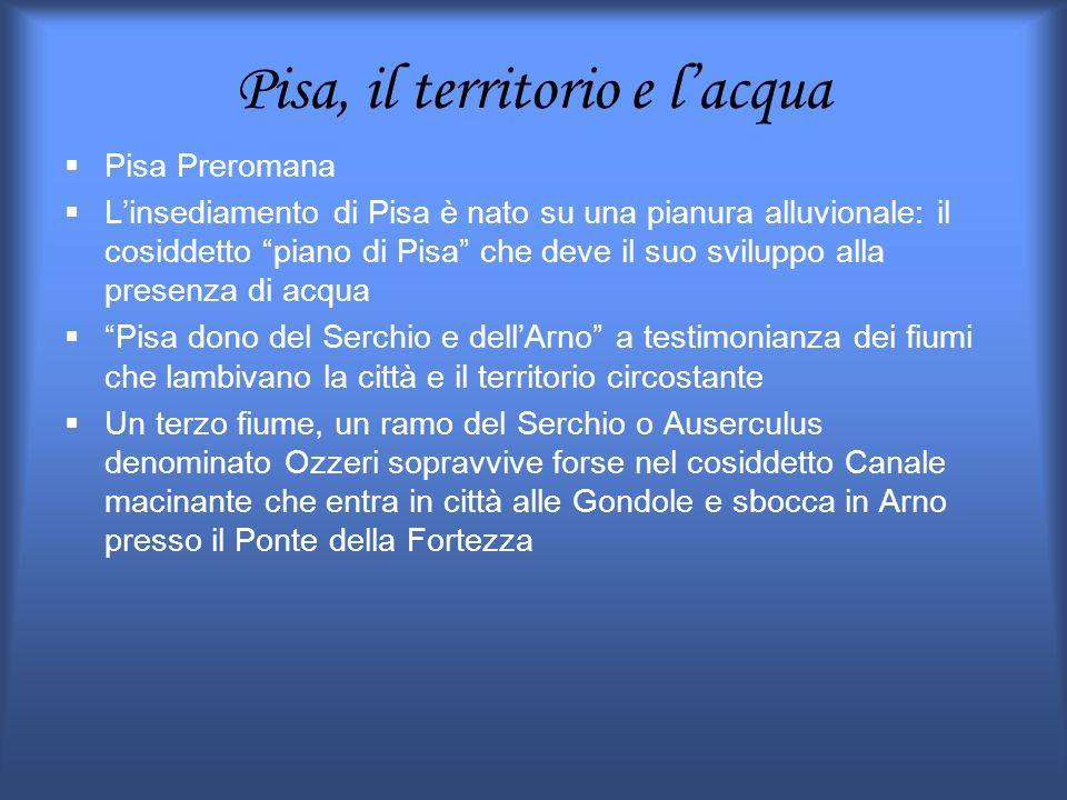 Pisa, il territorio e lacqua Pisa Preromana Linsediamento di Pisa è nato su una pianura alluvionale: il cosiddetto piano di Pisa che deve il suo svilu