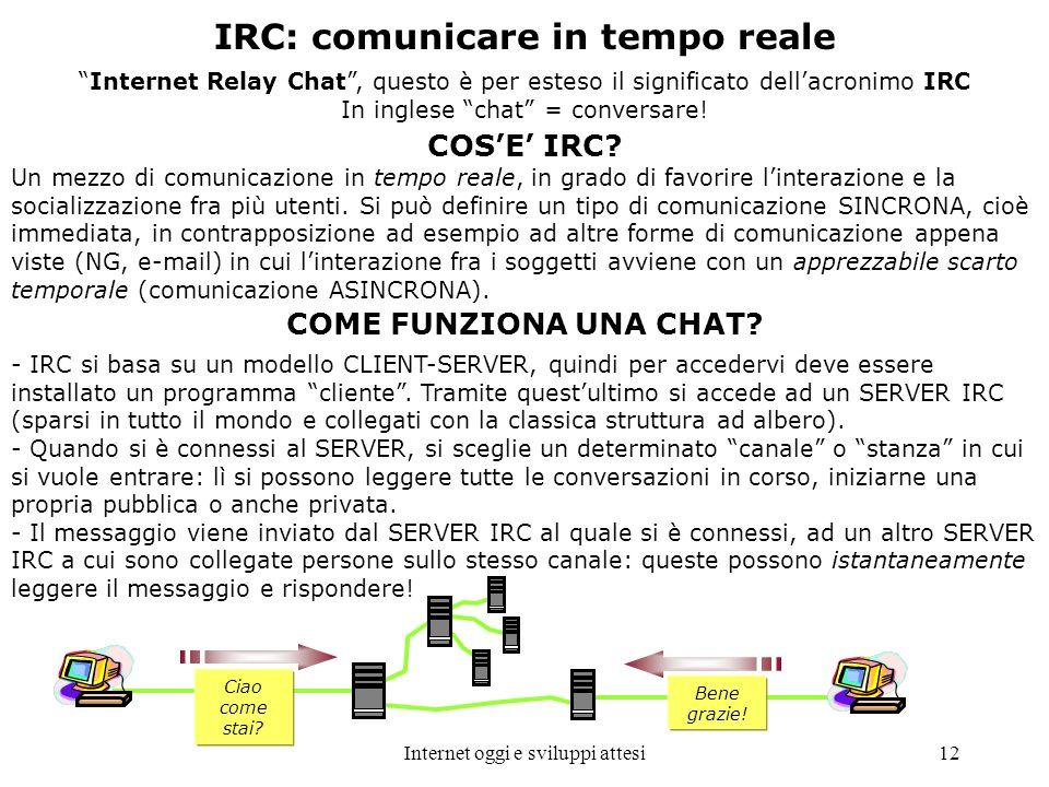 Internet oggi e sviluppi attesi12 IRC: comunicare in tempo reale Internet Relay Chat, questo è per esteso il significato dellacronimo IRC In inglese c