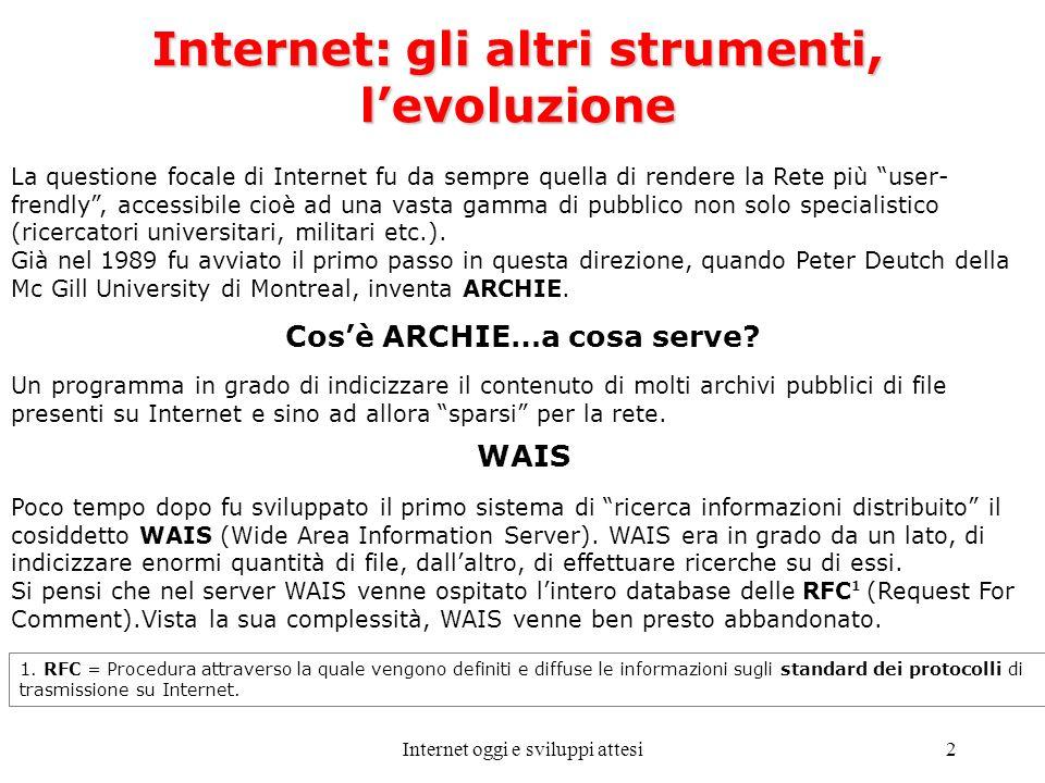 Internet oggi e sviluppi attesi2 Internet: gli altri strumenti, levoluzione La questione focale di Internet fu da sempre quella di rendere la Rete più