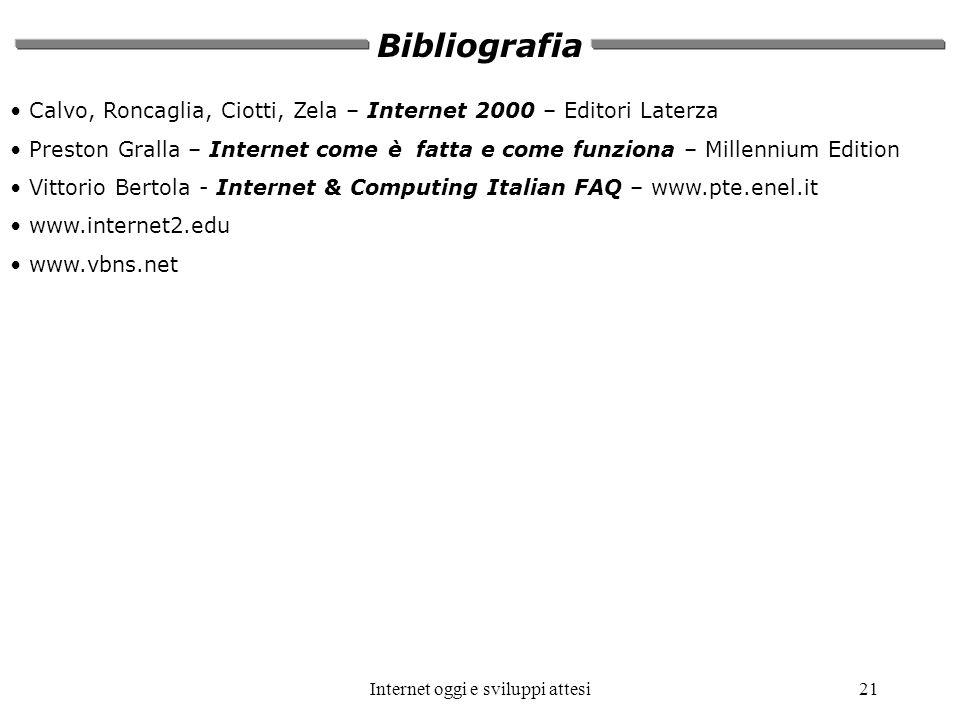 Internet oggi e sviluppi attesi21 Bibliografia Calvo, Roncaglia, Ciotti, Zela – Internet 2000 – Editori Laterza Preston Gralla – Internet come è fatta