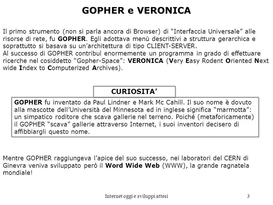 Internet oggi e sviluppi attesi3 Il primo strumento (non si parla ancora di Browser) di Interfaccia Universale alle risorse di rete, fu GOPHER. Egli a