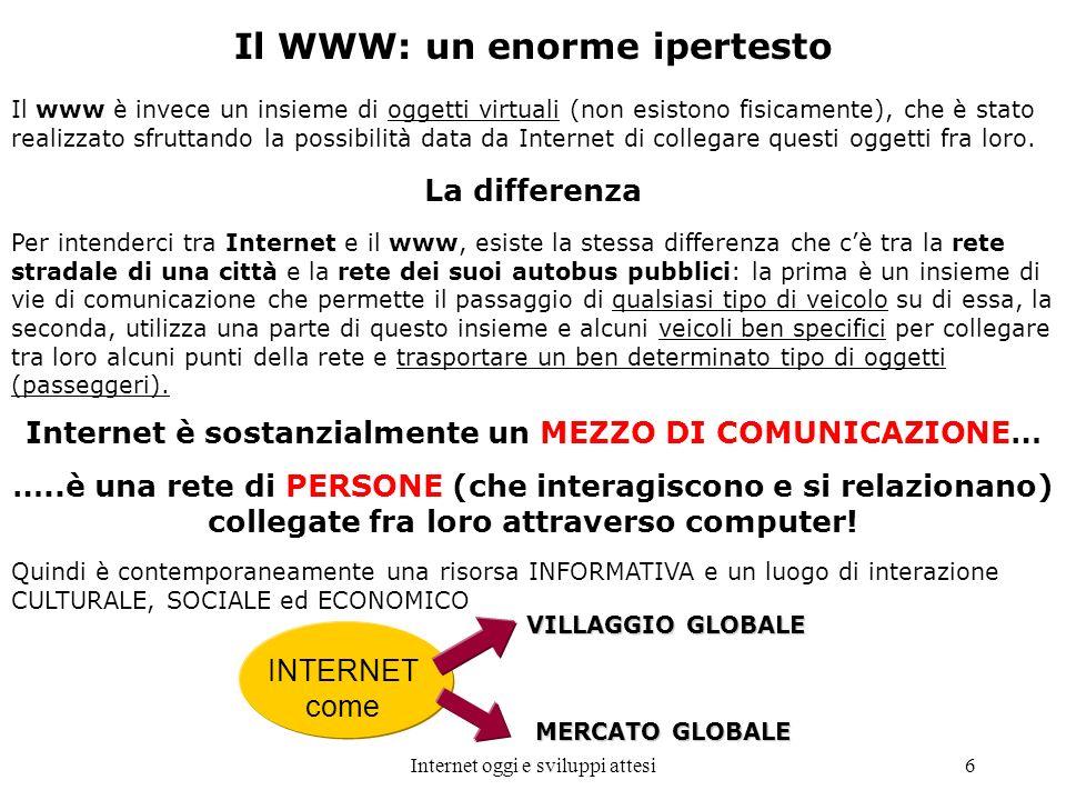 Internet oggi e sviluppi attesi6 Il WWW: un enorme ipertesto Il www è invece un insieme di oggetti virtuali (non esistono fisicamente), che è stato re