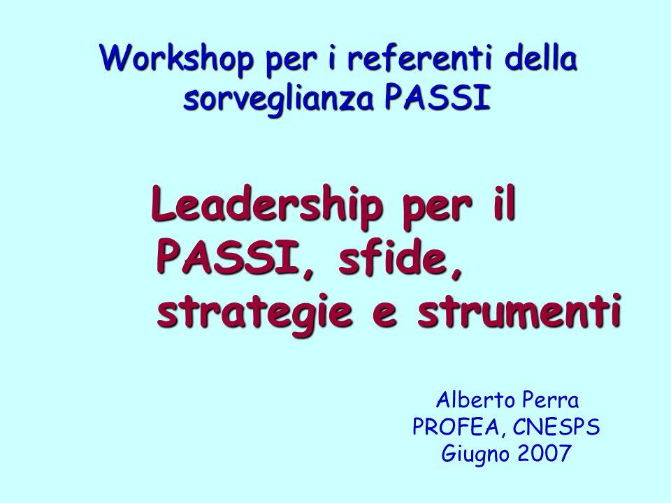 Workshop per i referenti della sorveglianza PASSI Leadership per il PASSI, sfide, strategie e strumenti Leadership per il PASSI, sfide, strategie e strumenti Alberto Perra PROFEA, CNESPS Giugno 2007