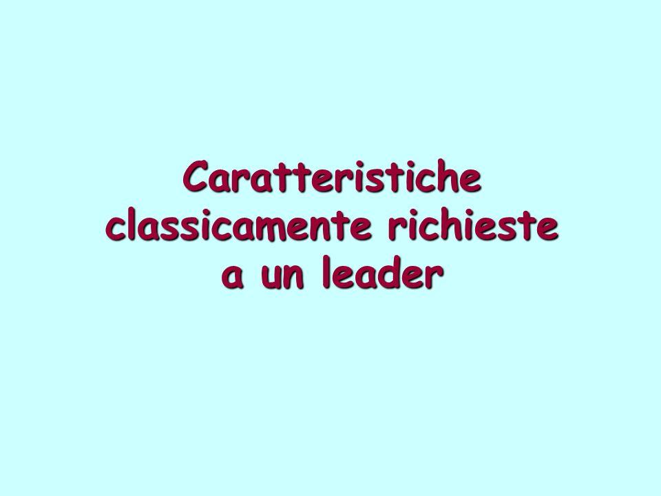 Caratteristiche classicamente richieste a un leader