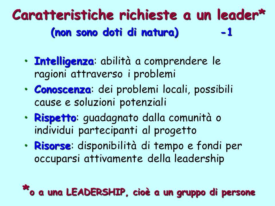 Caratteristiche richieste a un leader* (non sono doti di natura) -1 IntelligenzaIntelligenza: abilità a comprendere le ragioni attraverso i problemi C