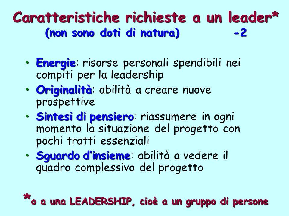 Caratteristiche richieste a un leader* (non sono doti di natura) -2 EnergieEnergie: risorse personali spendibili nei compiti per la leadership Origina