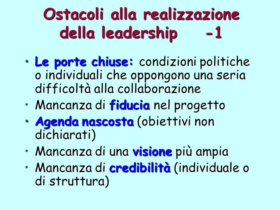 Ostacoli alla realizzazione della leadership -1 Le porte chiuse: condizioni politiche o individuali che oppongono una seria difficoltà alla collaboraz