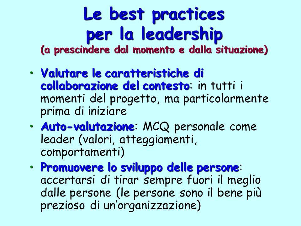 Le best practices per la leadership (a prescindere dal momento e dalla situazione) Valutarelecaratteristichedi collaborazionedelcontestoValutare le ca