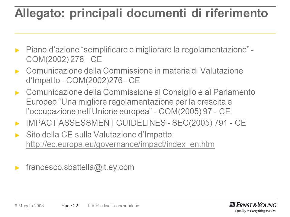 9 Maggio 2008LAIR a livello comunitarioPage 22 Allegato: principali documenti di riferimento Piano dazione semplificare e migliorare la regolamentazione - COM(2002) 278 - CE Comunicazione della Commissione in materia di Valutazione dImpatto - COM(2002)276 - CE Comunicazione della Commissione al Consiglio e al Parlamento Europeo Una migliore regolamentazione per la crescita e loccupazione nellUnione europea - COM(2005) 97 - CE IMPACT ASSESSMENT GUIDELINES - SEC(2005) 791 - CE Sito della CE sulla Valutazione dImpatto: http://ec.europa.eu/governance/impact/index_en.htm http://ec.europa.eu/governance/impact/index_en.htm francesco.sbattella@it.ey.com