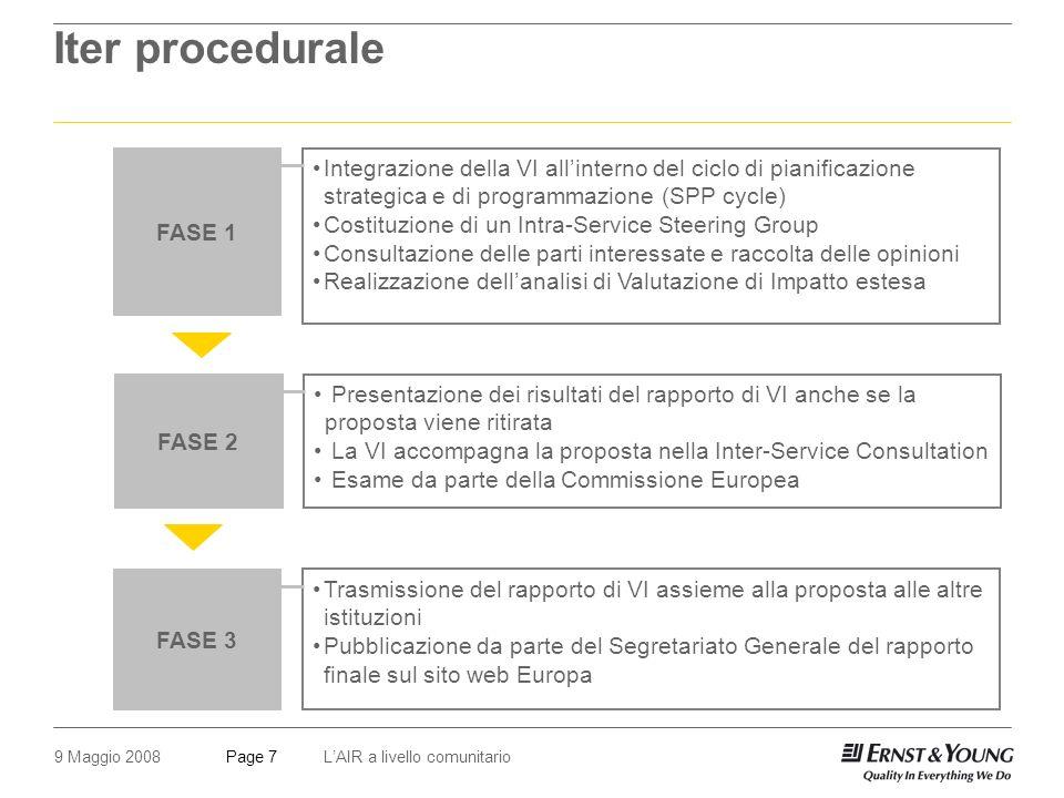 9 Maggio 2008LAIR a livello comunitarioPage 7 Iter procedurale FASE 1 Integrazione della VI allinterno del ciclo di pianificazione strategica e di programmazione (SPP cycle) Costituzione di un Intra-Service Steering Group Consultazione delle parti interessate e raccolta delle opinioni Realizzazione dellanalisi di Valutazione di Impatto estesa FASE 2 Presentazione dei risultati del rapporto di VI anche se la proposta viene ritirata La VI accompagna la proposta nella Inter-Service Consultation Esame da parte della Commissione Europea FASE 3 Trasmissione del rapporto di VI assieme alla proposta alle altre istituzioni Pubblicazione da parte del Segretariato Generale del rapporto finale sul sito web Europa