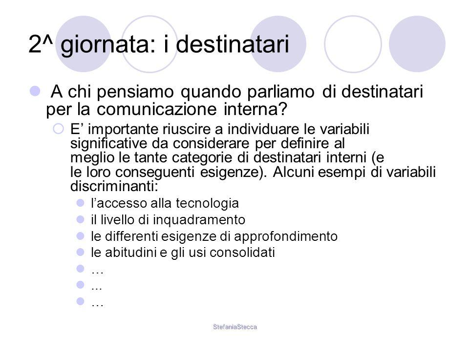 StefaniaStecca 2^ giornata: i destinatari A chi pensiamo quando parliamo di destinatari per la comunicazione interna.