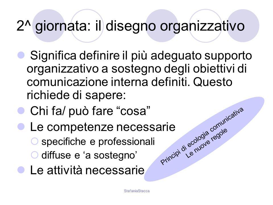 StefaniaStecca 2^ giornata: il disegno organizzativo Significa definire il più adeguato supporto organizzativo a sostegno degli obiettivi di comunicazione interna definiti.
