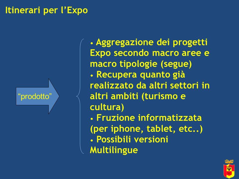 Itinerari per lExpo prodotto Aggregazione dei progetti Expo secondo macro aree e macro tipologie (segue) Recupera quanto già realizzato da altri settori in altri ambiti (turismo e cultura) Fruzione informatizzata (per iphone, tablet, etc..) Possibili versioni Multilingue