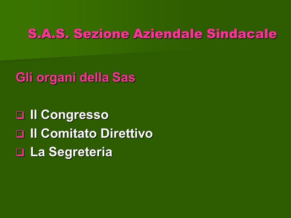 Gli organi della Sas Il Congresso Il Congresso Il Comitato Direttivo Il Comitato Direttivo La Segreteria La Segreteria S.A.S. Sezione Aziendale Sindac