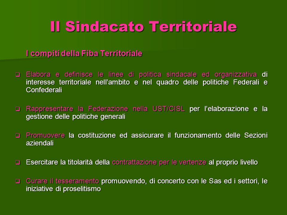 Il Sindacato Territoriale I compiti della Fiba Territoriale Elabora e definisce le linee di politica sindacale ed organizzativa di interesse territori