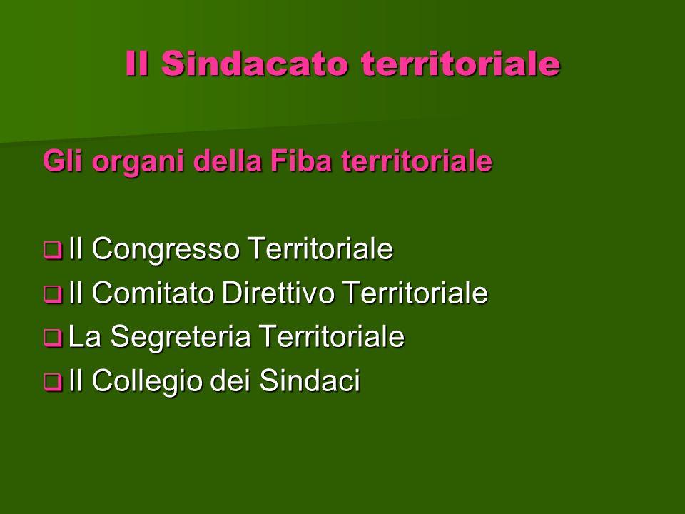 Il Sindacato territoriale Gli organi della Fiba territoriale Il Congresso Territoriale Il Congresso Territoriale Il Comitato Direttivo Territoriale Il